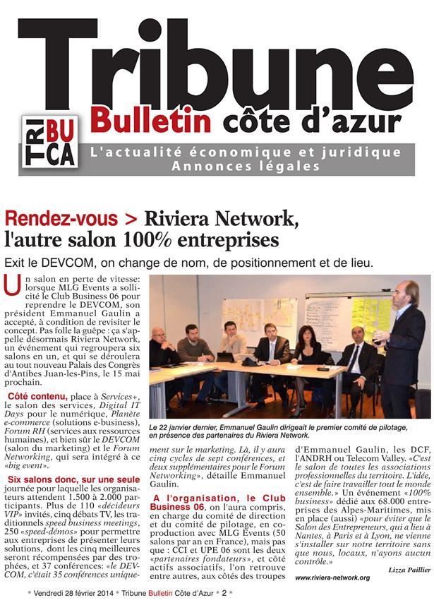 Article La Tribune Bulletin Cote d'Azur du 28 février 2014