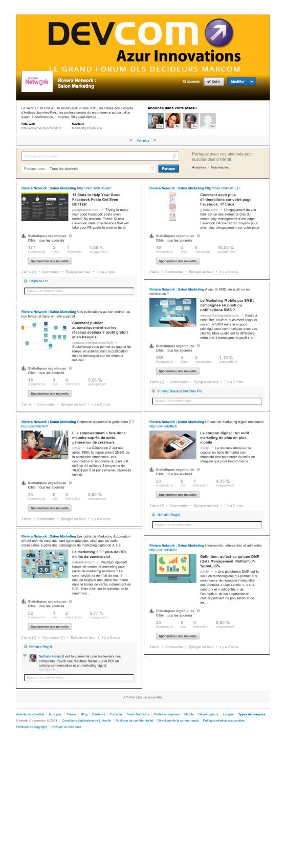 Page Devcom Azur sur Linkedin
